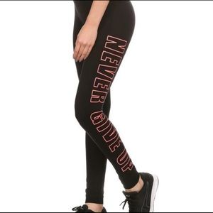 "Pants - ""Never Give Up"" Yoga Workout Leggings"